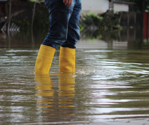 Person Standing in Flooded Area